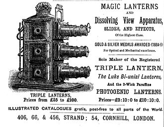 Dissolving views - Advertisement with picture of a triple lantern / dissolving view apparatus (1886)