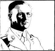 Major Edwin N. McClellan, Marine Historian, as portrayed by A. T. Manookian in a 1925 pen and ink drawing