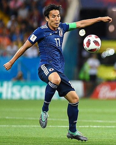 2018 FIFAワールドカップ・決勝トーナメント1回戦・ベルギー戦でキャプテンとしてプレーする長谷部誠 Wikipediaより