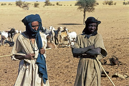 Tuareg society is traditionally feudal, ranging from nobles, through vassals, to dark-skinned slaves. Mali1974-151 hg.jpg
