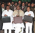 Mallikarjun Kharge leaving Rail Bhawan for Parliament House to present the Interim Railway Budget 2014-15documents, in New Delhi. The Ministers of State for Railways.jpg