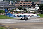 Mandarin Airlines Embraer 190 B-16829 Taking off from Taipei Songshan Airport 20150908a.jpg