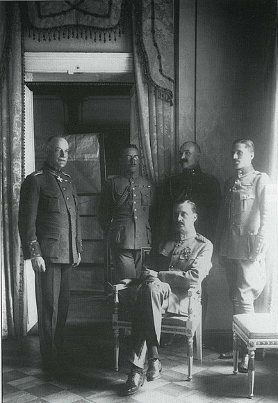 C. G. E. Mannerheim as regent of Finland (sitting) and his adjutants (from the left) Lt.Col. Lilius, Cap. Kekoni, Lt. Gallen-Kallela, Ensign Rosenbroijer Mannerheim, Lilius, Kekoni, Gallen-Kallela, Rosenbroijer.jpg