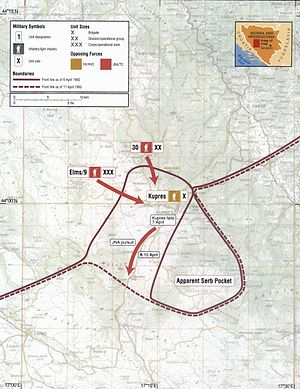 Battle of Kupres (1992) - Map of the Battle of Kupres