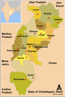 Map of India with the location of ఛత్తీస్‌గఢ్ highlighted.