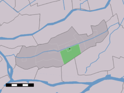 The village centre (dark green) and the statistical district (light green) of Molenaarsgraaf in the former municipality of Graafstroom.