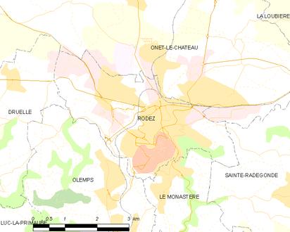 Carte représentant les limites territoriales de plusieurs communes.