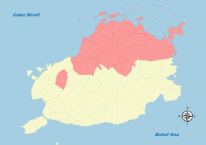 Legislative districts of Bohol - Map of Bohol's Second District (1987-present)