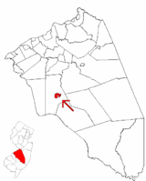 Medford Lakes highlighted in Burlington County. Inset map: Burlington County highlighted in the State of New Jersey.