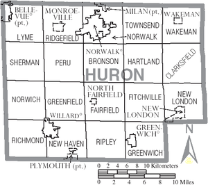 Huron County, Ohio - Map of Huron County, Ohio with Municipal and Township Labels