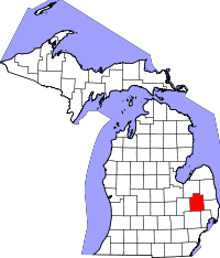 Map of Michigan highlighting Lapeer County.svg