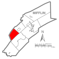 Map of Mifflin County, Pennsylvania highlighting Menno Township