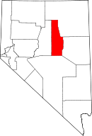 Map of Nevada highlighting Eureka County
