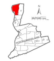 Map of Northumberland County, Pennsylvania highlighting Delaware Township