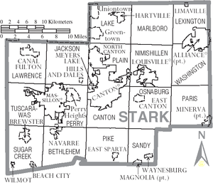 Map of Stark County, Ohio With Municipal and Township Labels