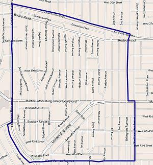 Leimert Park, Los Angeles - Leimert Park boundaries as mapped by the Los Angeles Times