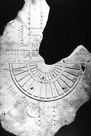 Theatre of Pompey - Fragment of the Severan Map of Rome, showing the Theatre of Pompey