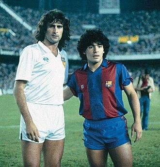 Athletic–Barcelona clásico - Diego Maradona (left), during his time at Barcelona