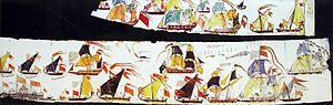 Kanhoji Angre - A painted scroll depicting different types of ships of the Marathan Navy, primarily grabs and gallivats, but also including some captured English ships.