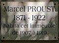 Marcel Proust plaque - 102 Boulevard Haussmann, Paris 8.jpg