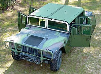 Humvee - A U.S. Marine Corps M1123 HMMWV in 2004, equipped with a bolt-on MAK armor kit.