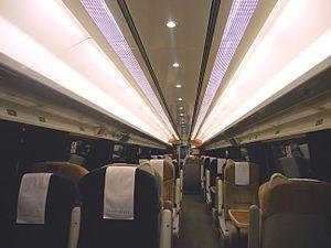 British Rail Mark 4 - The interior of First Class aboard a GNER 'Project Mallard' refurbished Mark 4 FO vehicle