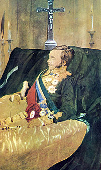 The marquis lying in state on a bed draped in black crepe with silver crucifix in the background and wearing full dress uniform with sashes of office, medals of various orders, and sword