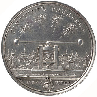 Martin Holtzhey - Portrait of the medallist Martin Holtzhey, reverse. Silver, 1729. View of the skyline of Amsterdam with Holtzhey's coin press.