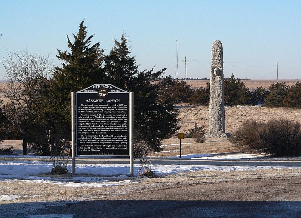 Massacre Canyon monument and marker