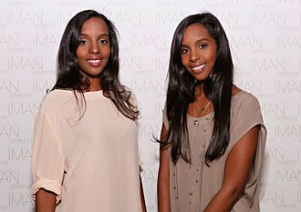 Iman (model) - Mataano founders Ayaan and Idyl Mohallim at an event for Iman's cosmetic line (2013).