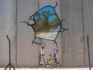 Trompe-l'œil di Banksy sul muro di confine tra Israele e Cisgiordania.