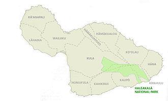 Haleakalā National Park - Location of Haleakalā National Park in the southeastern part of Maui Island