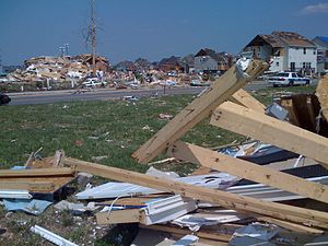 Damage from a tornado in Suffolk, Virginia.