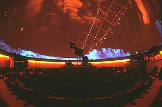 McLaughlin Planetarium - The Zeiss-Jena planetarium projector in action during a show.