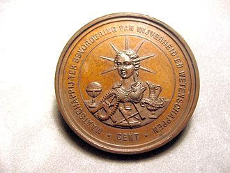 "Constant Montald - The medal shows the publisher, i.e. ""The society for the furtherment of Industry and Science-Ghent"""