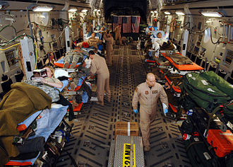 Medical evacuation - An aeromedical evacuation of injured patients by a C-17 from Balad, Iraq to Ramstein, Germany, in 2007