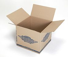 An empty cardboard box with the top closing flaps open