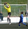 Meinhard Joensen Goalkeeper for B36 and Mamuka Toronjadze a FCSuduroy Midfielder.jpg