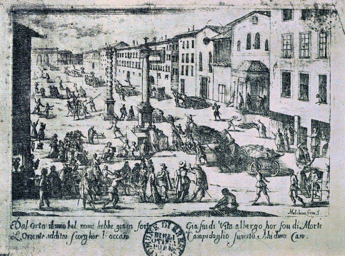 Melchiorre Gherardini, Piazza di S. Babila durante la peste del 1630.jpg