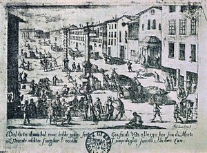 1629–31 Italian plague - Melchiorre Gherardini, Piazza S. Babila, Milan, during the plague of 1630: plague carts carry the dead for burial.