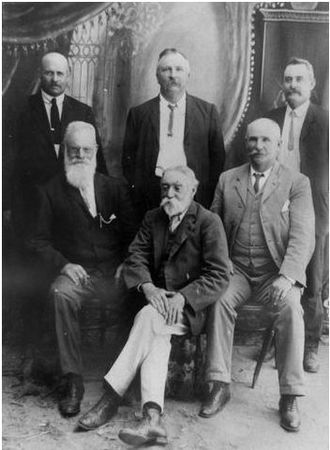 Shire of Adavale - Members of the Adavale Shire Council, 1909. Members from left to right, back row: Albert Jones of 'Gumbardo'; Donald MacNeill, Divisional Board Clerk; Harry Charles Pegler. Front row, left to right: Alfred Skinner, storekeeper in Adavale; Iver Ian McIver, 'Bulgroo' station manager; James Paynter, 'Ambathalla' station. (Description supplied with photograph)
