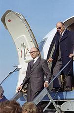Menachem Begin and Moshe Dayan exits from an aircraft