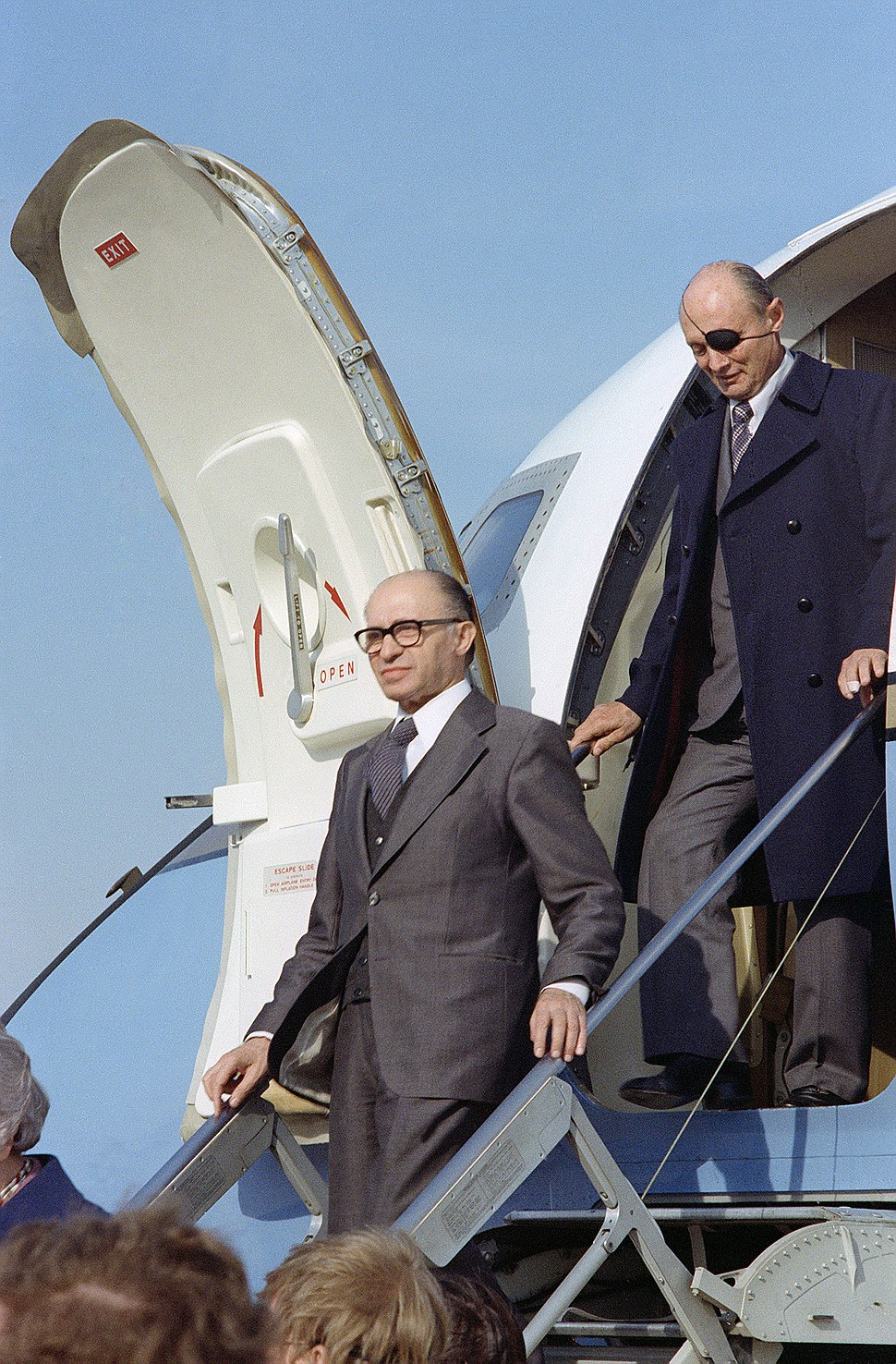 Menachem Begin and Moshe Dayan exits from an aircraft.JPEG