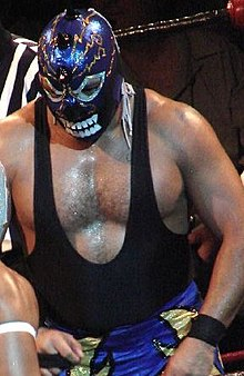 A picture of a masked professional wrestler wearing a blue mask with spikes on it.