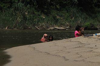 Batek people - Batek people bathing in the Tembeling River, Pahang, Malaysia.
