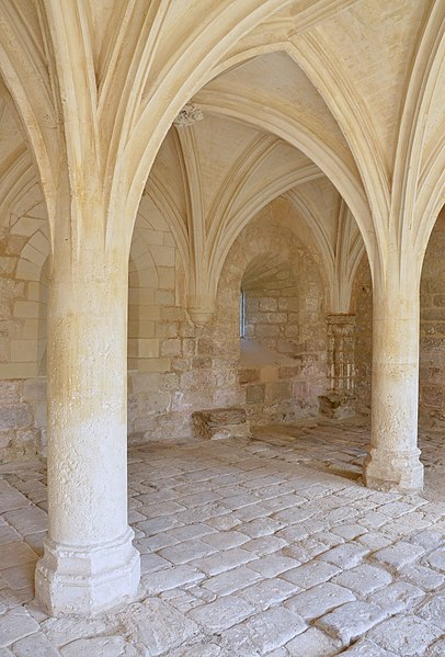 Pillars and vault of the chapter hall, abbey of la Frenade, Merpins, Charente, France.