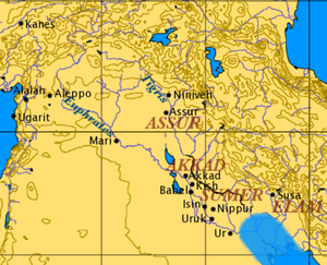 Ancient Mesopotamian religion - Overview map of ancient Mesopotamia.