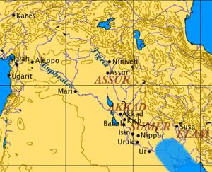Ancient Mesopotamian religion - Overview map of ancient Mesopotamia.
