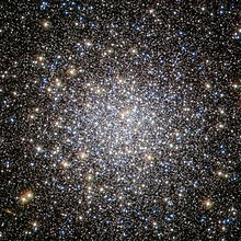 Messier 5's central dense core of stars, containing a large number of stars packed into a small area