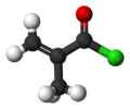 Ball-and-stick model of methacryloyl chloride